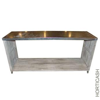 Table 200x40 h50cm op zinc horticash for Table exterieur zinc